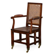 Rare British Mahogany & Leather Metamorphic Campaign Chair