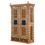Folk Art Floral Painted Armoire Cabinet | Central Europe, 19th Century