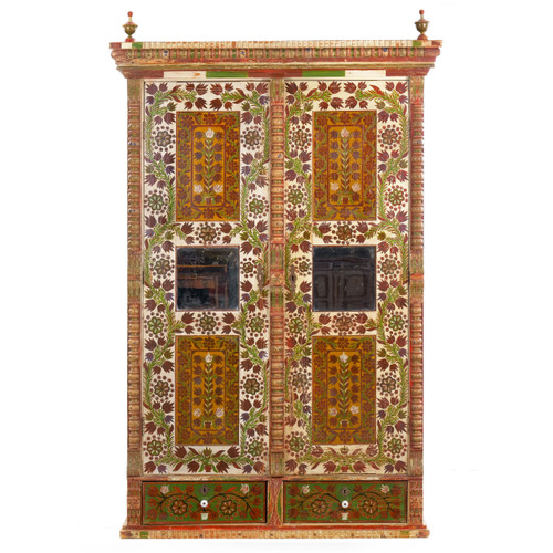 Folk Art Floral Painted Armoire Cabinet   Central Europe, 19th Century