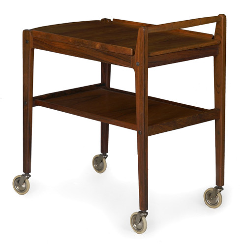 Swedish Mid-Century Rosewood Bar Table Cart by Erik Gustafsson