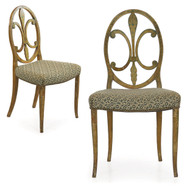 Painted Side Chairs with Fleur de Lis Splat | Continental, 19th Century