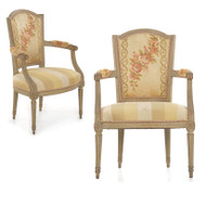 19th Century French Louis XVI Painted Fauteuils - A Pair