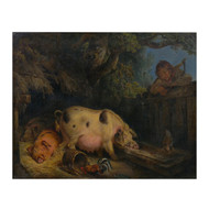 """Boy and the Pig Sty"", oil on canvas 