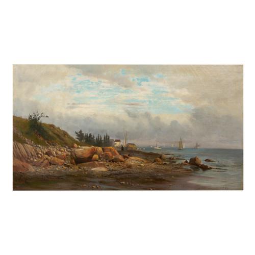 """Boats off a Rocky Coast"", oil painting | Carl Philipp Weber"