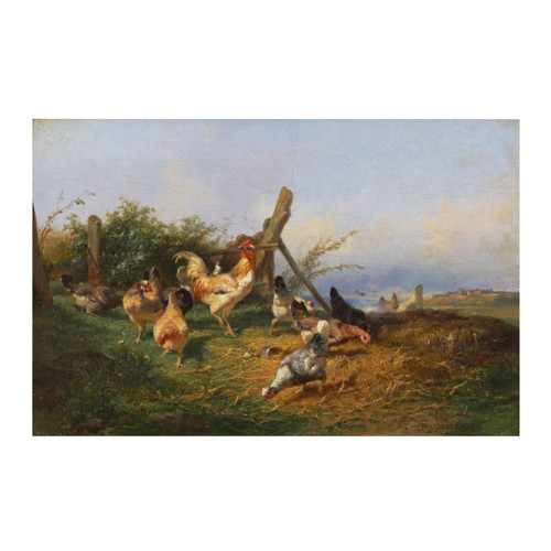Farmyard with Chickens, oil painting | Théophile Victor Émile Lemmens