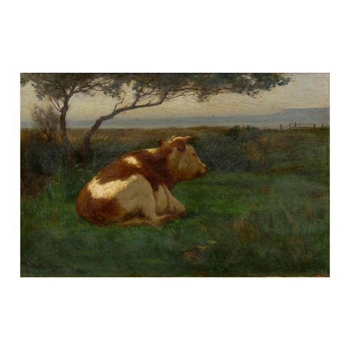 Landscape of a Resting Bull, oil painting | John Carleton Wiggins