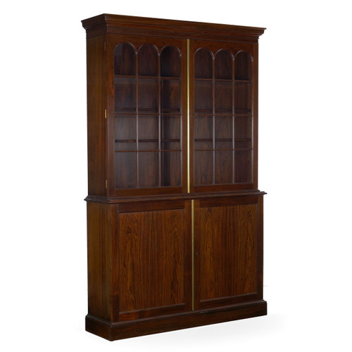 George III Style Rosewood Breakfront Bookcase Cabinet, 20th Century