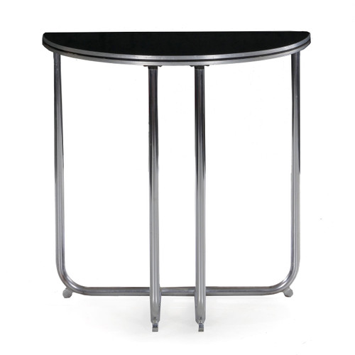 Art Deco Chrome and Lacquer Console Table, Royalchrome c. 1930s