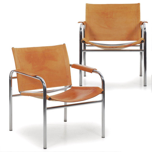 """Pair of Chrome and Leather """"Klint"""" Arm Chairs by Tord Bjorklund"""