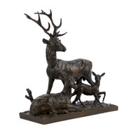 """Family of Elk"", bronze sculpture 