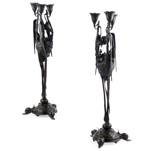 Pair of Candelabra with Birds' Nests | Auguste Nicolas Cain