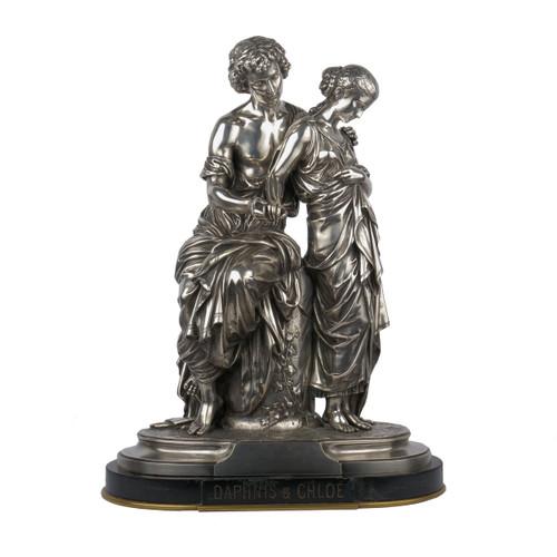 """Daphnis et Chloé"", silvered bronze sculpture | Mathurin Moreau"