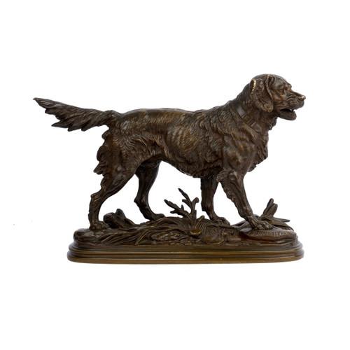 """""""Chien de Chasse"""", bronze sculpture   Paul-Edouard Delabrierre"""