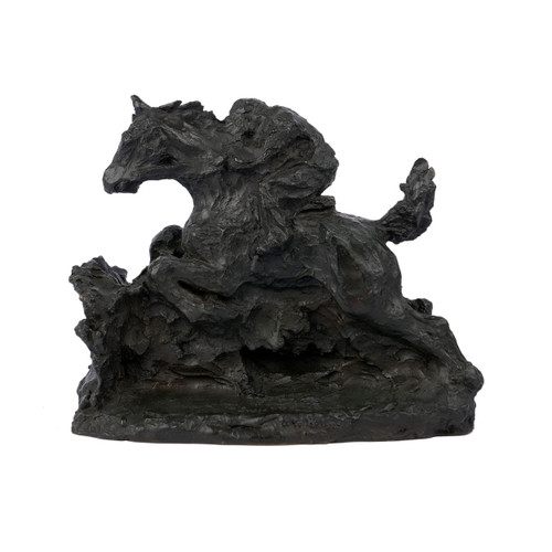 """Horse & Rider"", bronze sculpture | Modernism cast by Susse Freres"