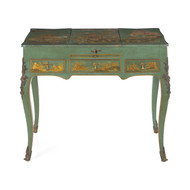 French Louis XV Style Green Chinoiserie Dressing Table circa 1880