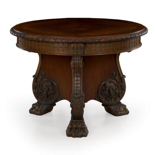 German Rococo Revival Carved Mahogany Center Table by Z.K.W.A.M.Z