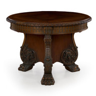 German Rococo Revival Carved Mahogany Center Table by Z.K.W.A.M.Z