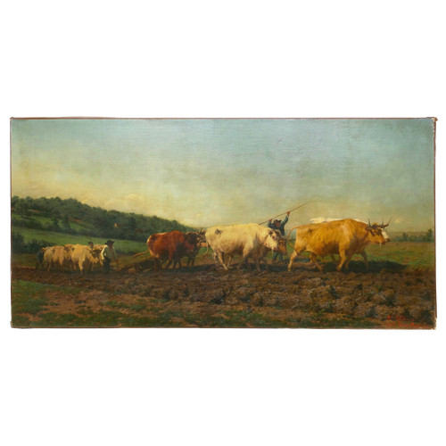 """Ploughing in Nevernais"", oil painting 