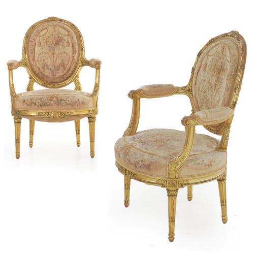 Pair of Louis XVI Style Giltwood Arm Chairs   Paris, circa 1900