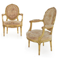 Pair of Louis XVI Style Giltwood Arm Chairs | Paris, circa 1900