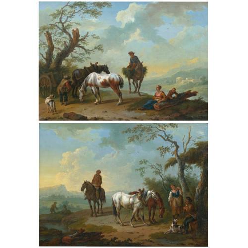 """""""Resting on the Bluff"""", a pair of paintings   Pieter van Bloemen"""