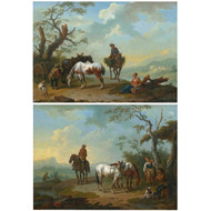 """Resting on the Bluff"", a pair of paintings 
