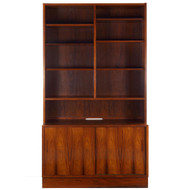 Danish Modern Rosewood Bookcase on Cabinet by Poul Hundevad