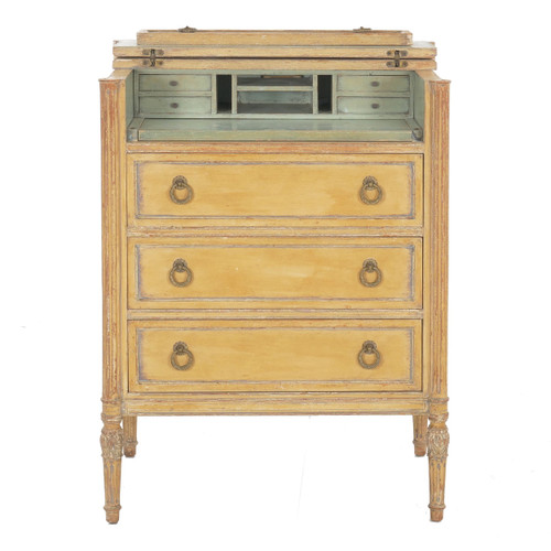 French Louis XVI Style Painted Secretary Desk over Chest of Drawers