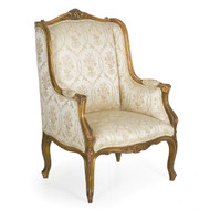 French Louis XV Style Polychromed Wingback Bergere | 19th Century