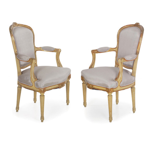Pair of French Neoclassical Painted Arm Chairs | 19th Century