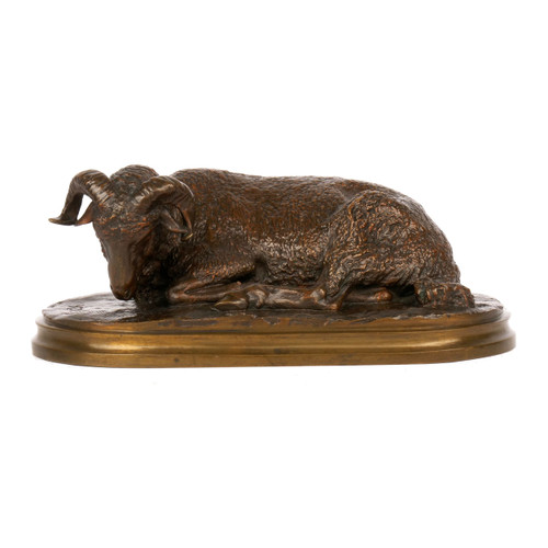 "French Bronze Sculpture of ""Resting Ram"" by Rosa Bonheur"