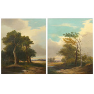 """Wooded Landscapes - A Pair"" (1843), oil painting 