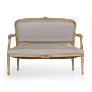 French Neoclassical Painted Settee in Gray Silk, 19th Century