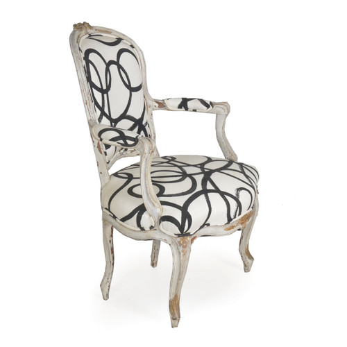French Louis XV Style Gray Painted Fauteuil, 18th Century
