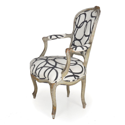French Louis XV Style Dark Gray Painted Fauteuil, 18th Century