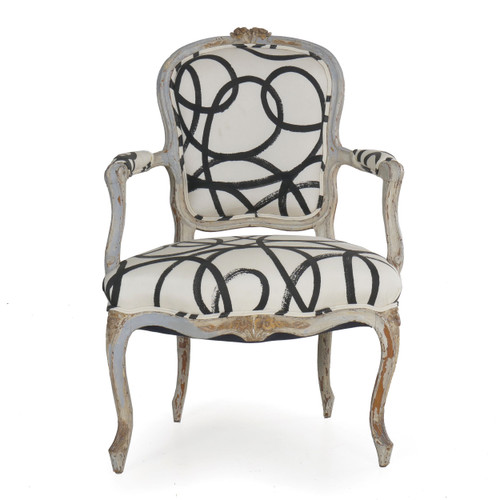 Louis XV Period Gray Painted Arm Chair, French, 18th Century