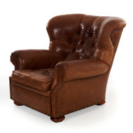 """Ralph Lauren Leather """"Writer's"""" Wingback Arm Chair"""