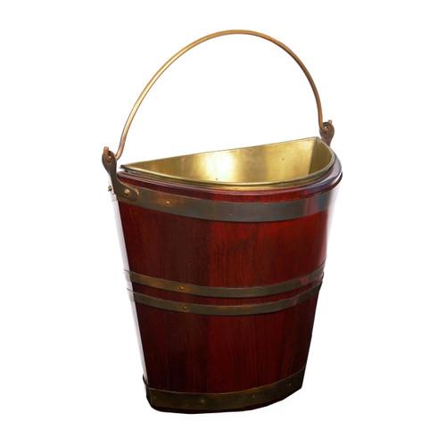 George III Brass-Bound Mahogany Peat Bucket of Navette form