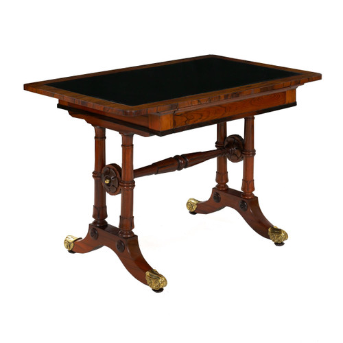 William IV Rosewood Leather-Top Writing Table | England, circa 1835