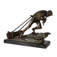 """L'Effort"", patinated bronze sculpture   Edouard Drouot"