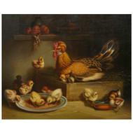"""Hen and Chicks"" (1867), oil painting | Andrea Cherubini (Italian, 1833-1905)"