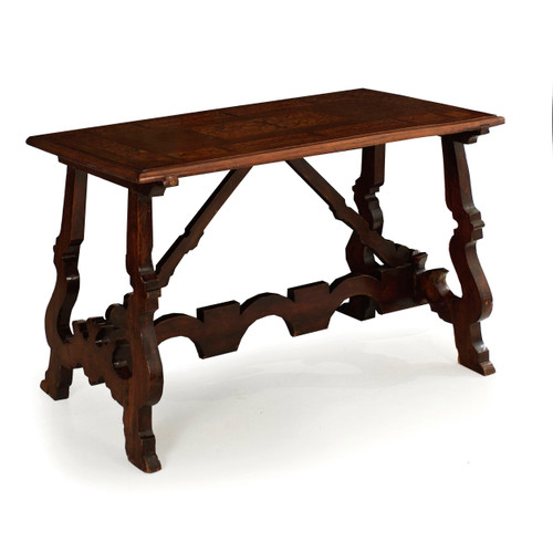 Italian Baroque Inlaid Walnut Trestle Console Table | Early 18th century