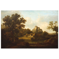 """Classical Landscape with Castle Ruins"", oil painting 