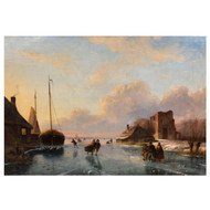 """Skaters on a Frozen Waterway"" | Nicolaas Johannes Roosenboom (Dutch, 1805-1880)"