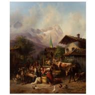 """An Alpine Village"", oil on panel | Joseph Heinrich Ludwig Marr"