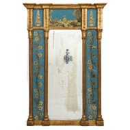 George III Blue Eglomisé Giltwood Pier Mirror | England, circa 1790