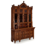 Fine Aesthetic Movement Walnut Breakfront Bookcase Cabinet