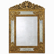 French Belle Epoqué Gilt Bronze Etched Wall Mirror | Alexandre Jeune, Paris