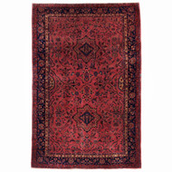 Antique Room Size Persian Purple Sarouk | 13.7' x 9.4'