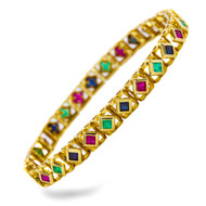14K Yellow Gold Emerald, Ruby and Sapphire Line Bracelet